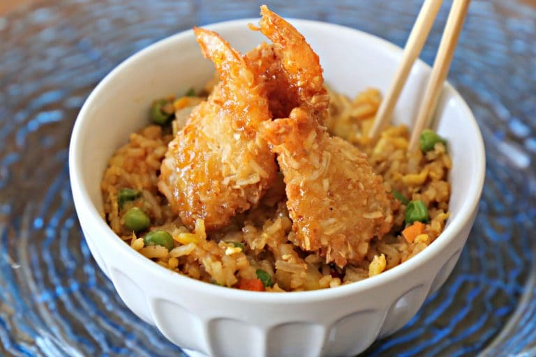 coconut shrimp and fried rice
