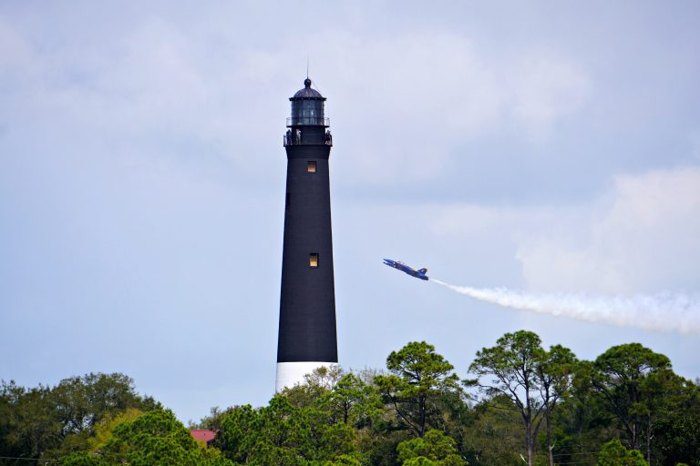 Blue Angels in front of the Pensacola Lighthouse