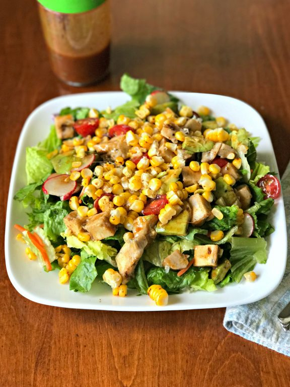 This recipe for Spicy Roasted Corn, Chicken and Avocado Salad, made with Sunshine Sweet Corn, is delicious! #SunshineSweetCorn #IC #ad