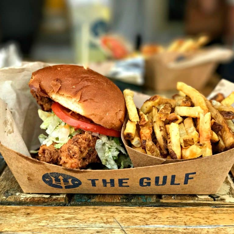 Fish Sandwich and Fries at The Gulf