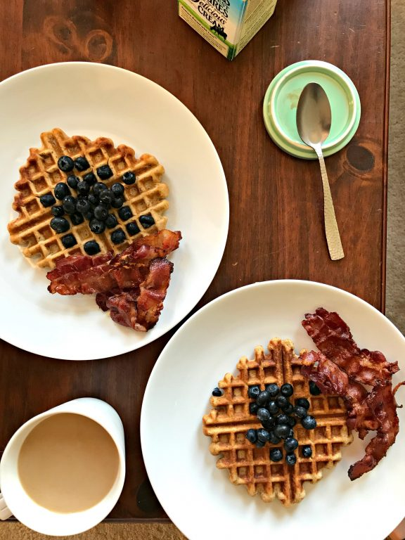 Waffles with fruit and bacon