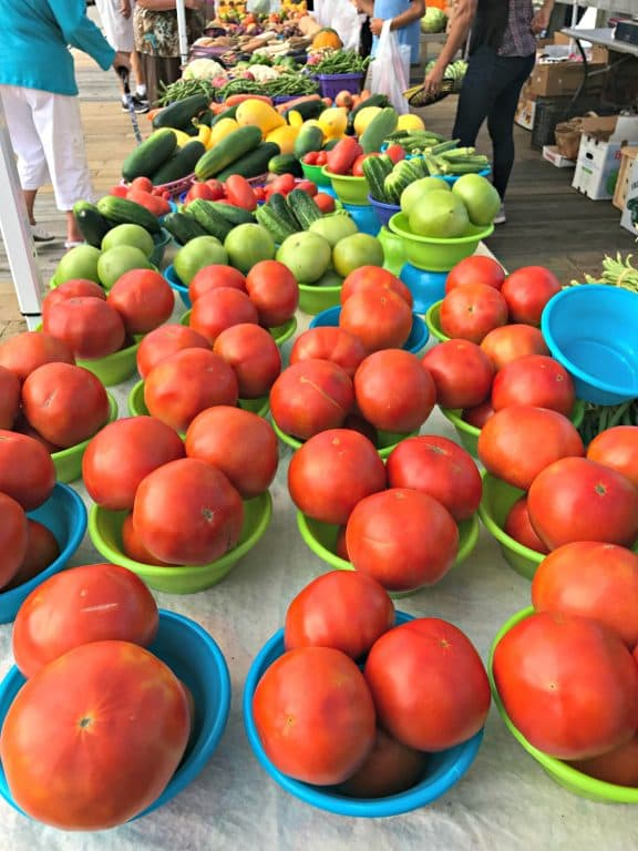 Fresh tomatoes at the Farmer's Market in historic St. Andrews