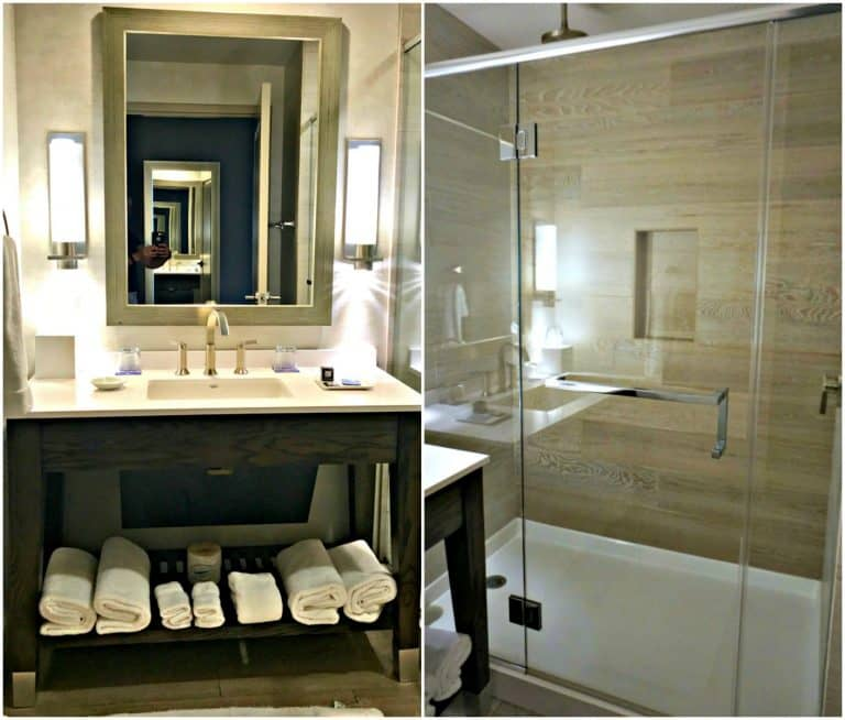The bathroom vanity and glassed-in shower
