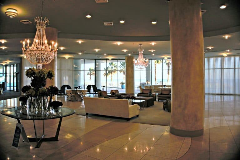 The lobby in Tower D at Turquoise Place in Orange Beach