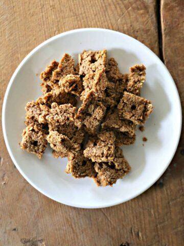 plate with homemade cracklin' oat bran cereal