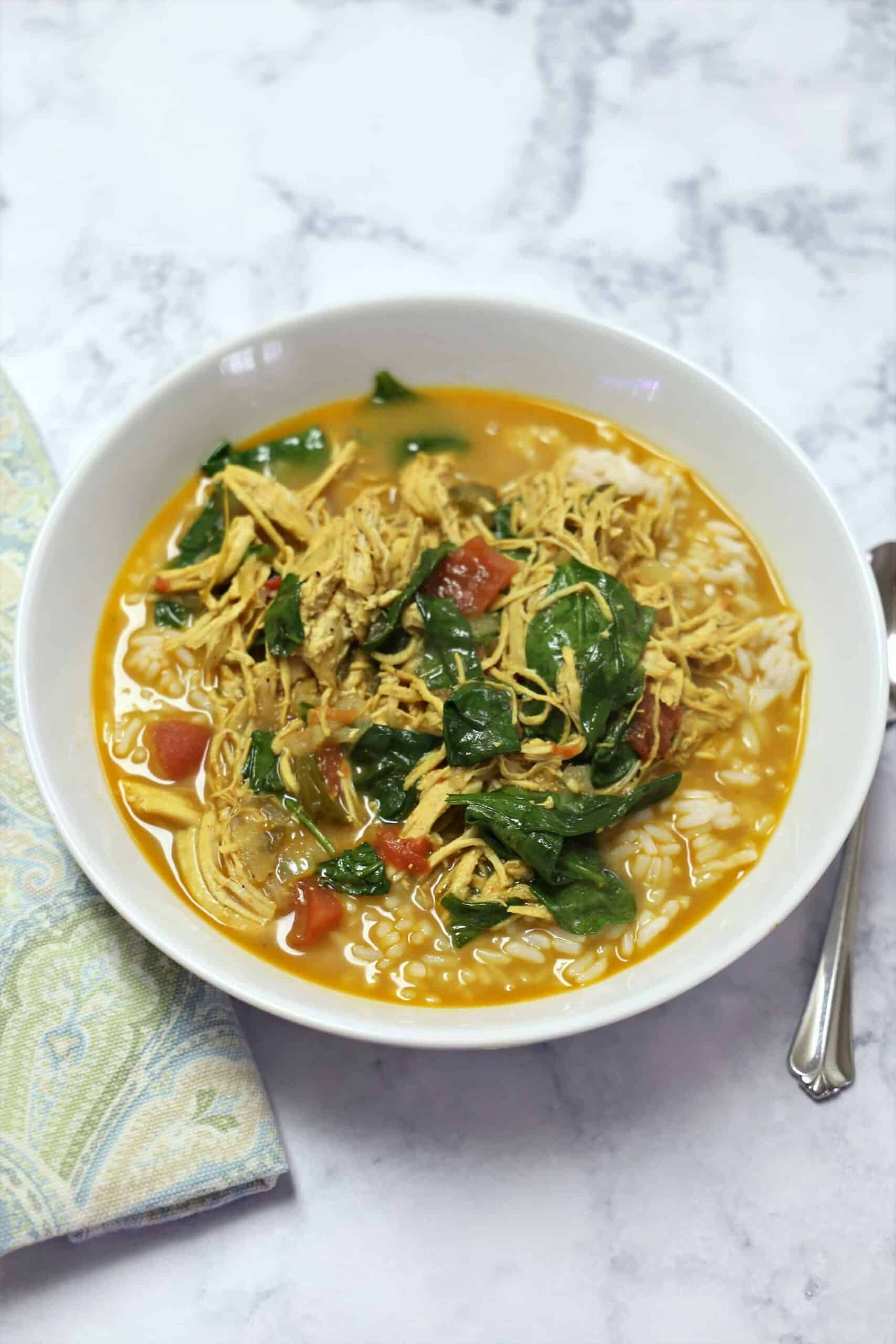 Bowl of Instant Pot Chicken Curry Breast Soup