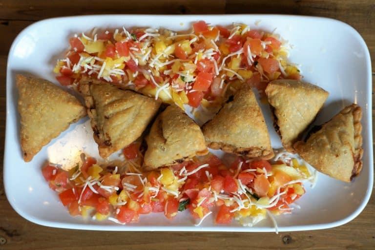 Chicken Samosas with Coconut Cilantro Chutney