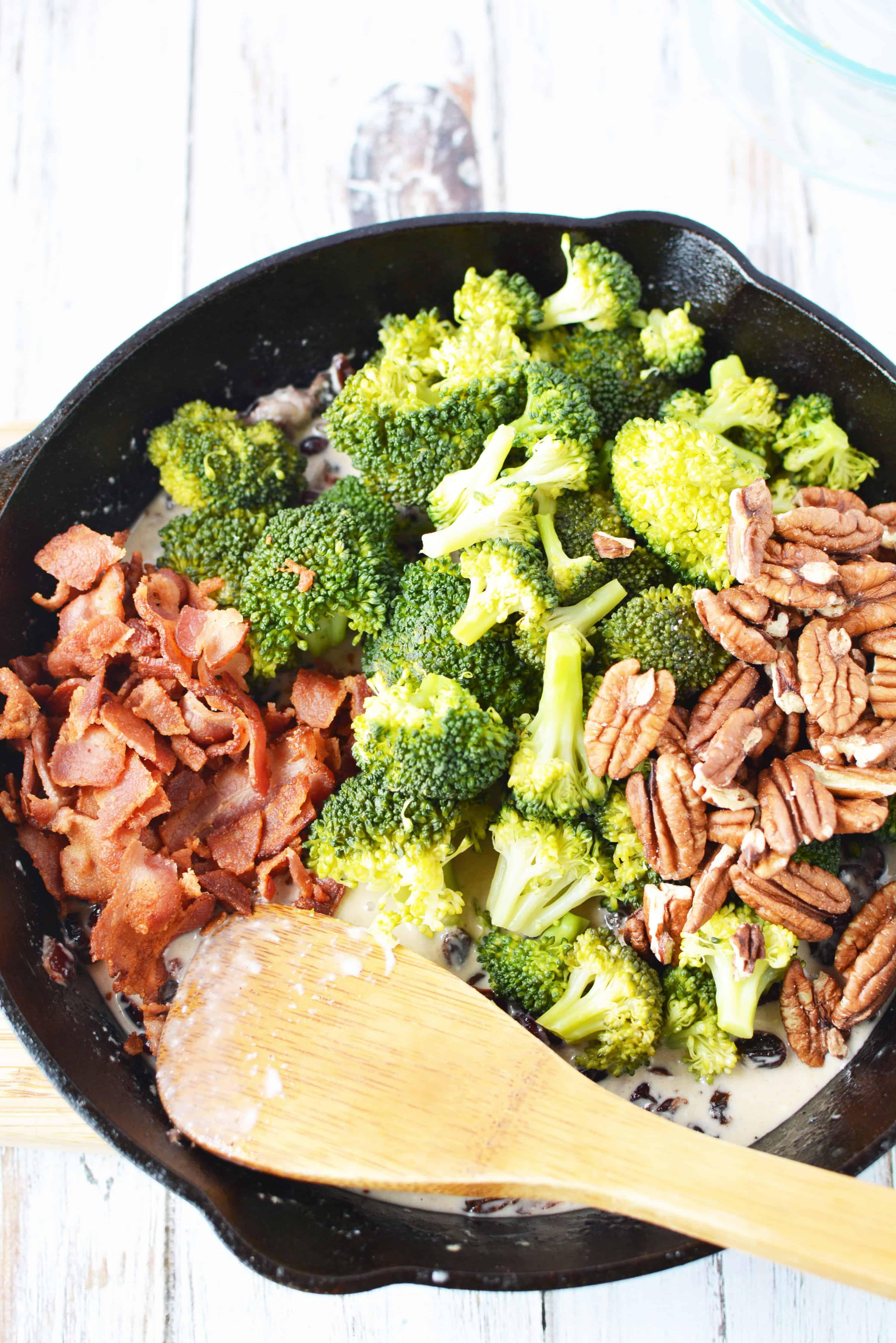 bacon, broccoli, and pecans