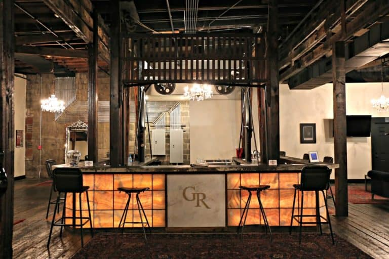 bar in converted old elevator shaft