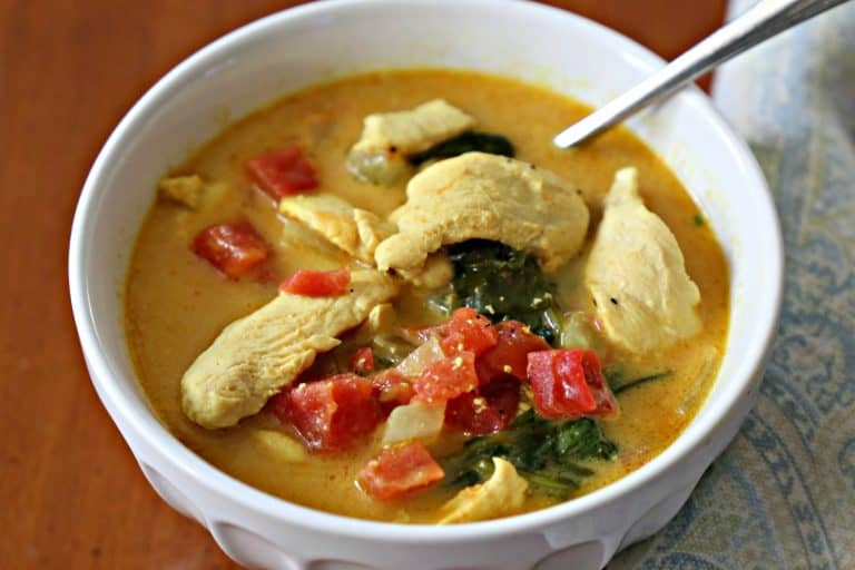 chicken curry soup in a bowl