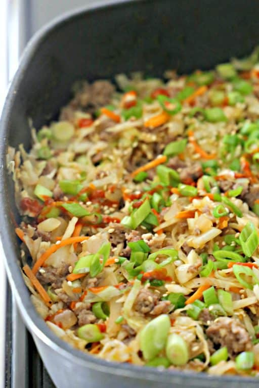 pork egg roll without a wrapper in skillet