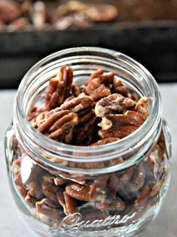 jar of salted pecans