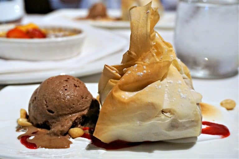 brownie wrapped in phyllo and chocolate ice cream