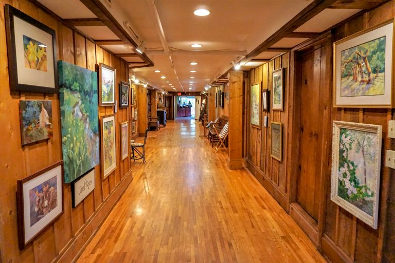 hallway lined with art