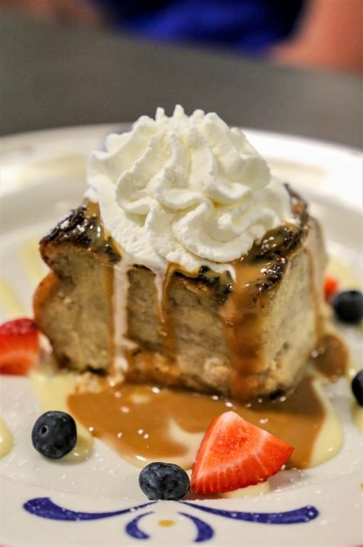 Bread Pudding with whipped cream