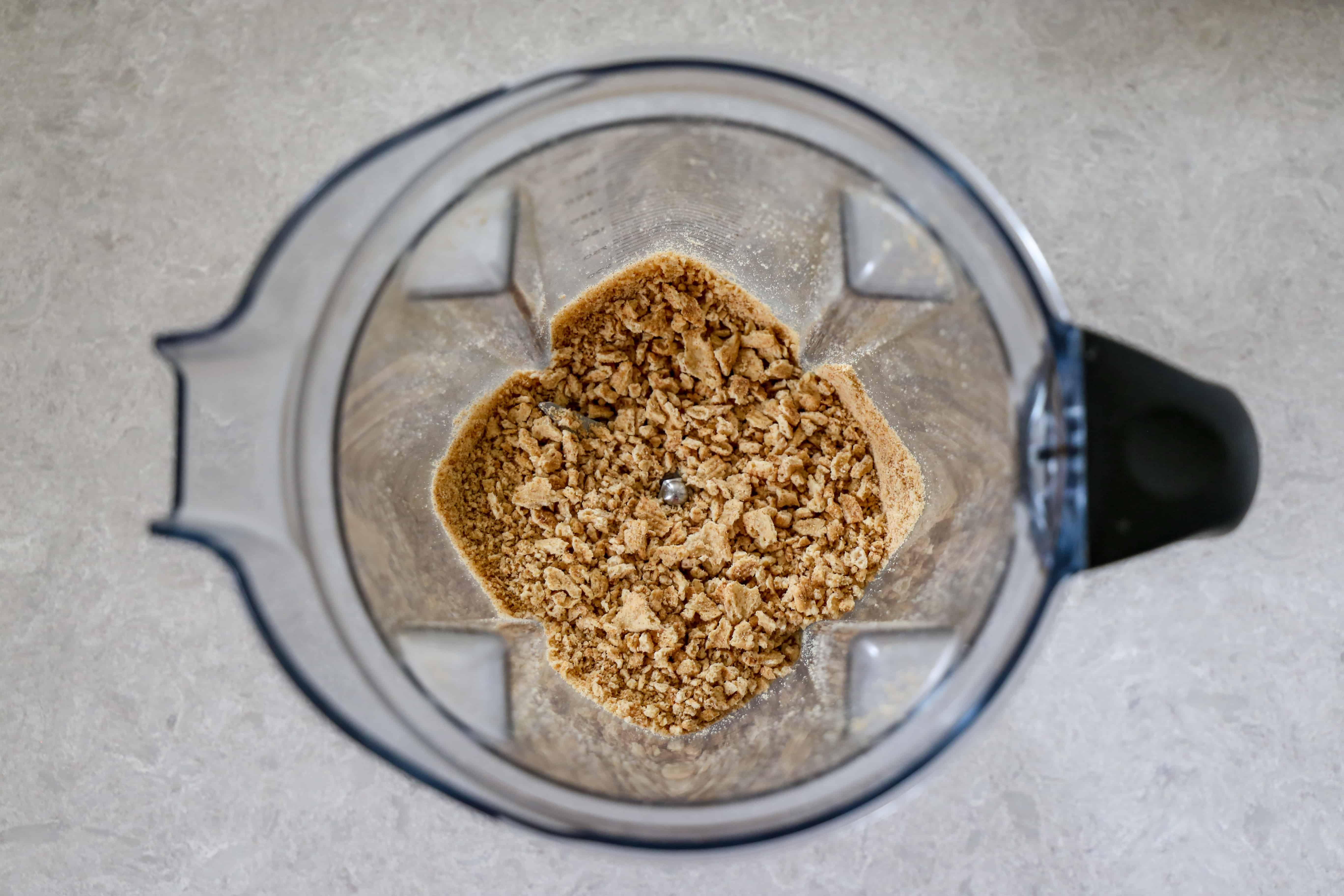 crushed cereal in blender