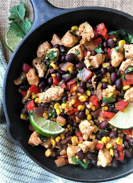 chicken, black beans, and corn in a skillet