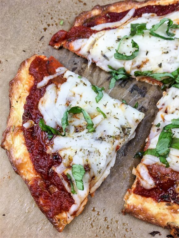 slice of low carb pizza