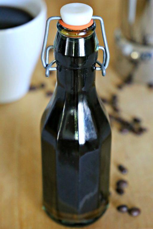 bottle of homemade coffee liqueur