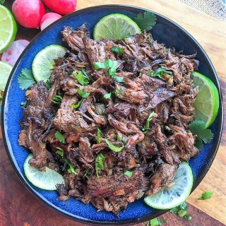 platter of Mexican shredded beef
