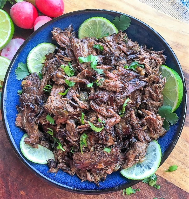 plate of slow cooker Mexican shredded beef