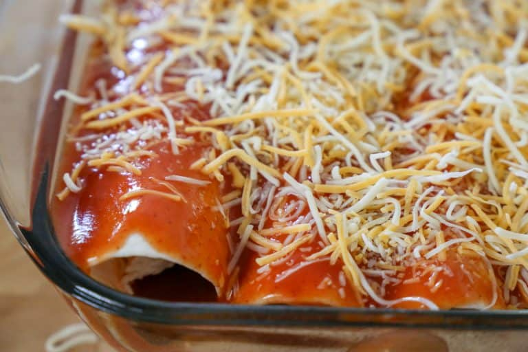 cheese on top of enchiladas