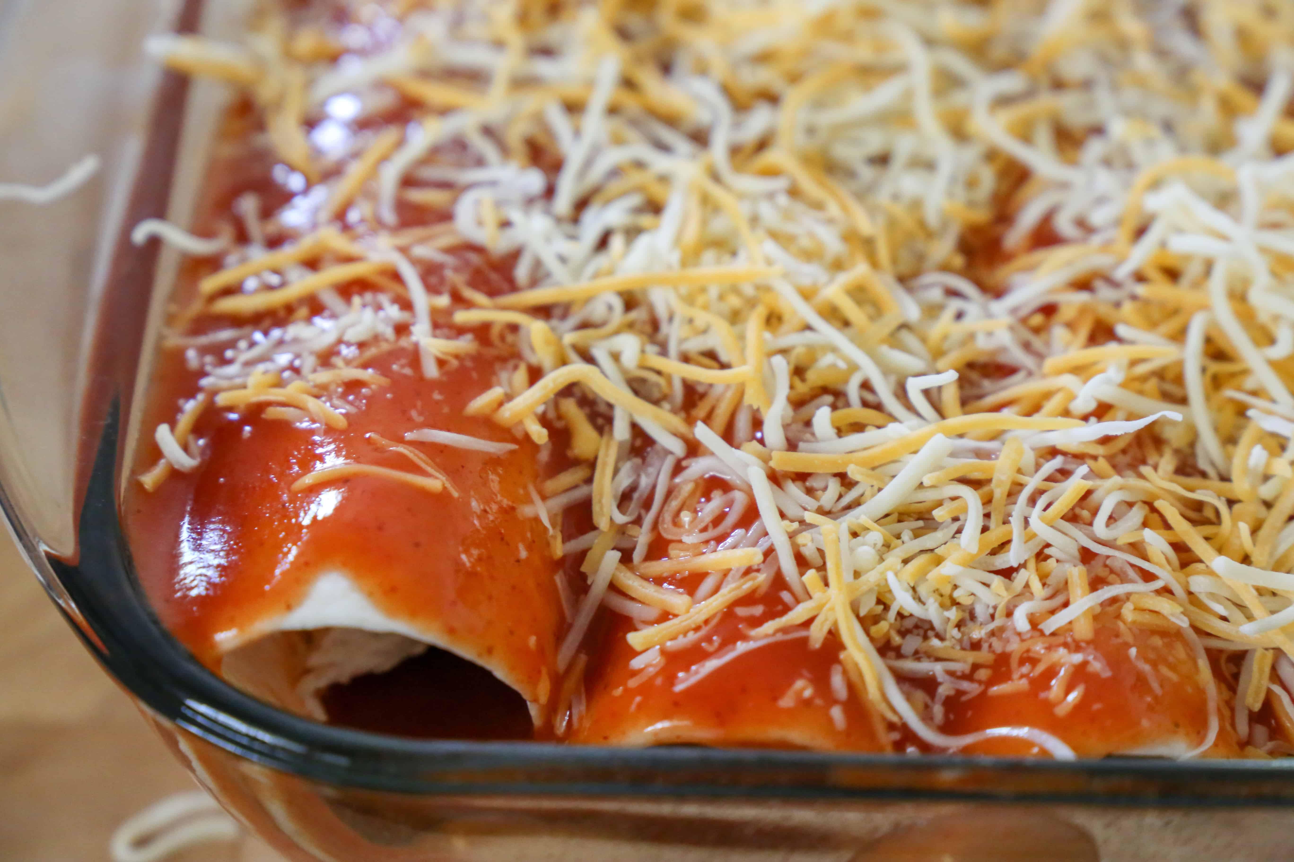 cheese on top of enchiladas