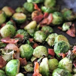 Brussels Sprouts and Bacon in a skillet