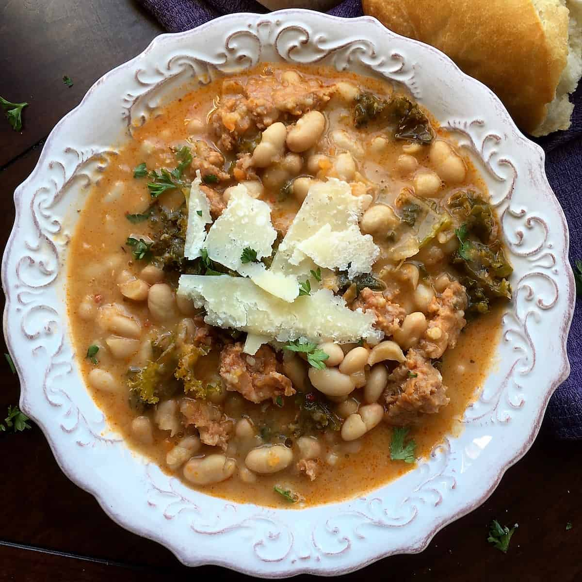 bowl of White Bean Soup with Spicy Sausage
