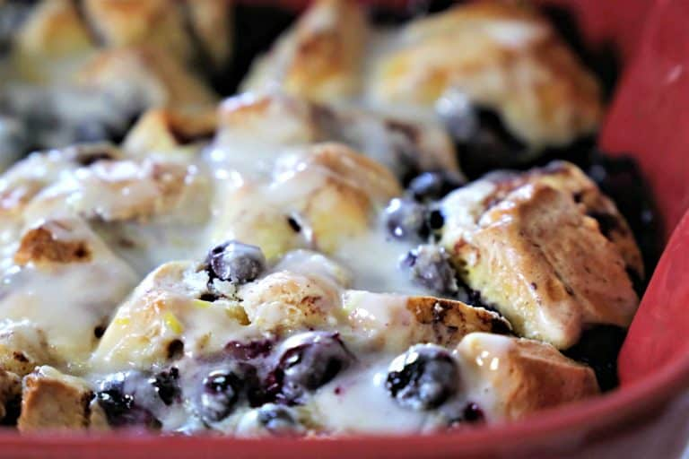 close up picture of blueberry breakfast bake