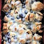 blueberry breakfast casserole in a pan