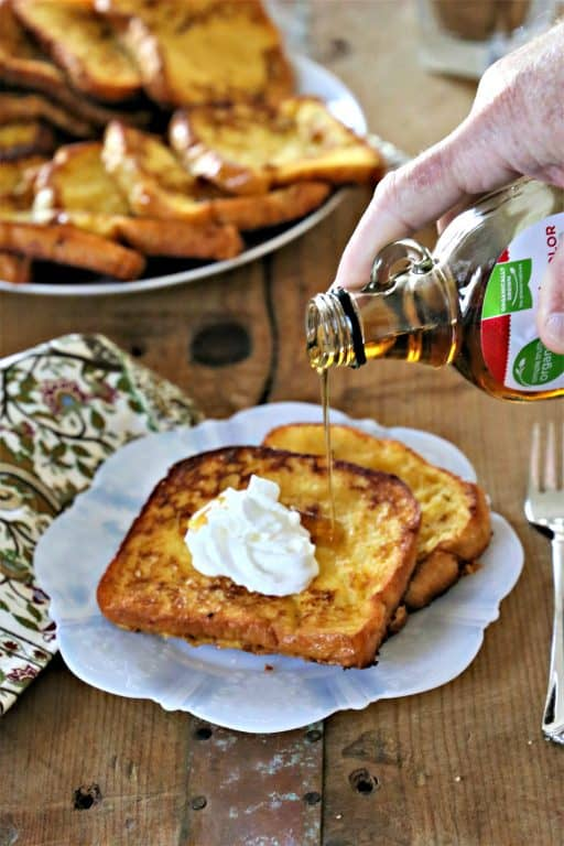Eggnog French Toast with syrup