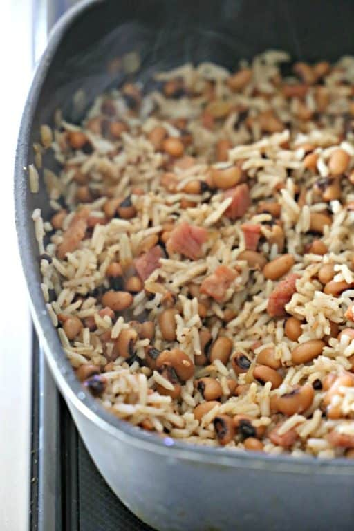 skillet with rice and beans