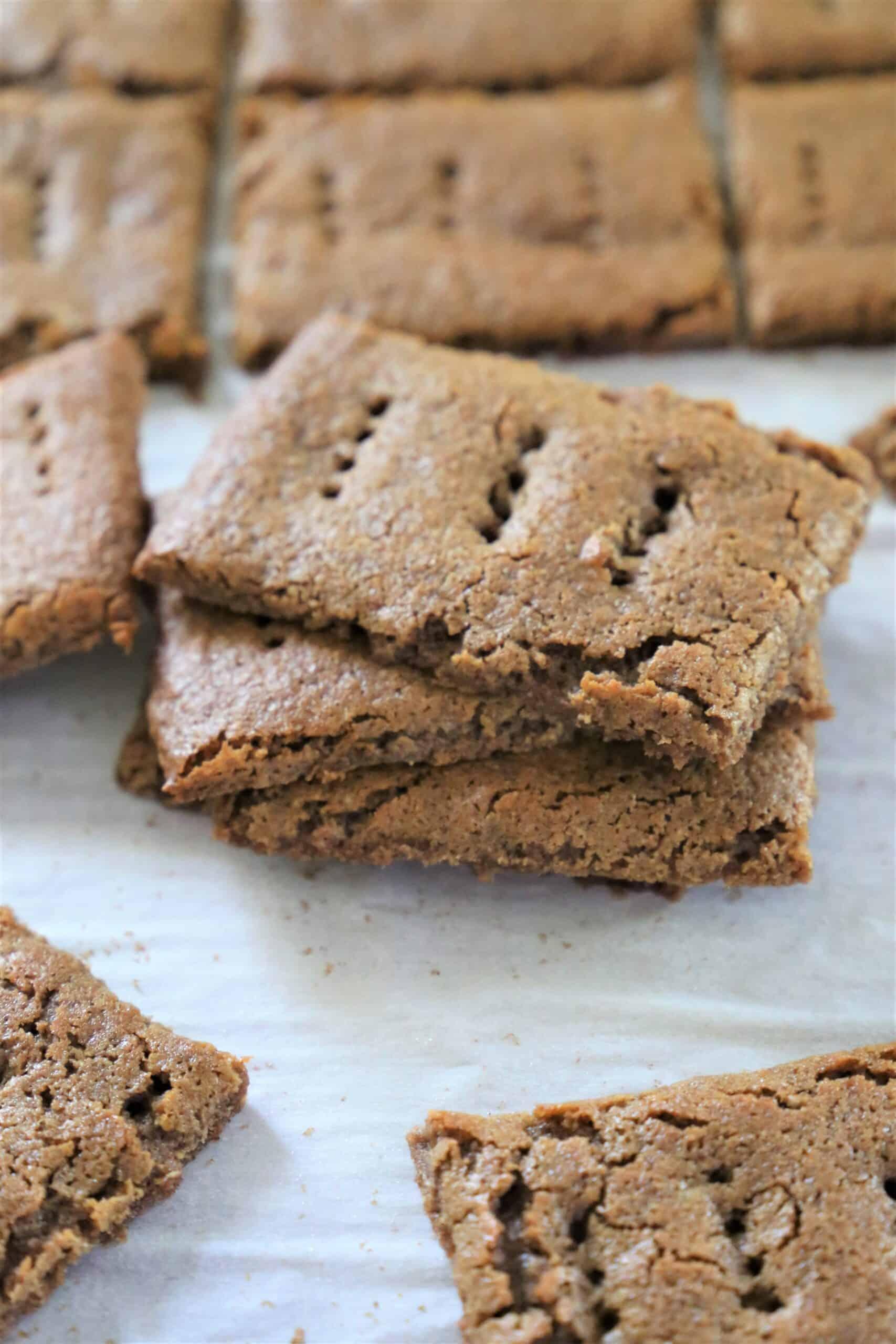 batch of graham crackers on baking sheet