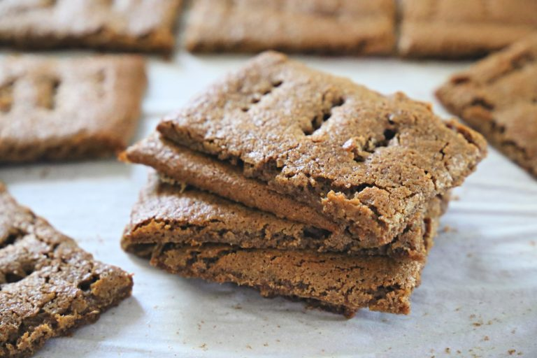 Paleo graham crackers on parchment paper