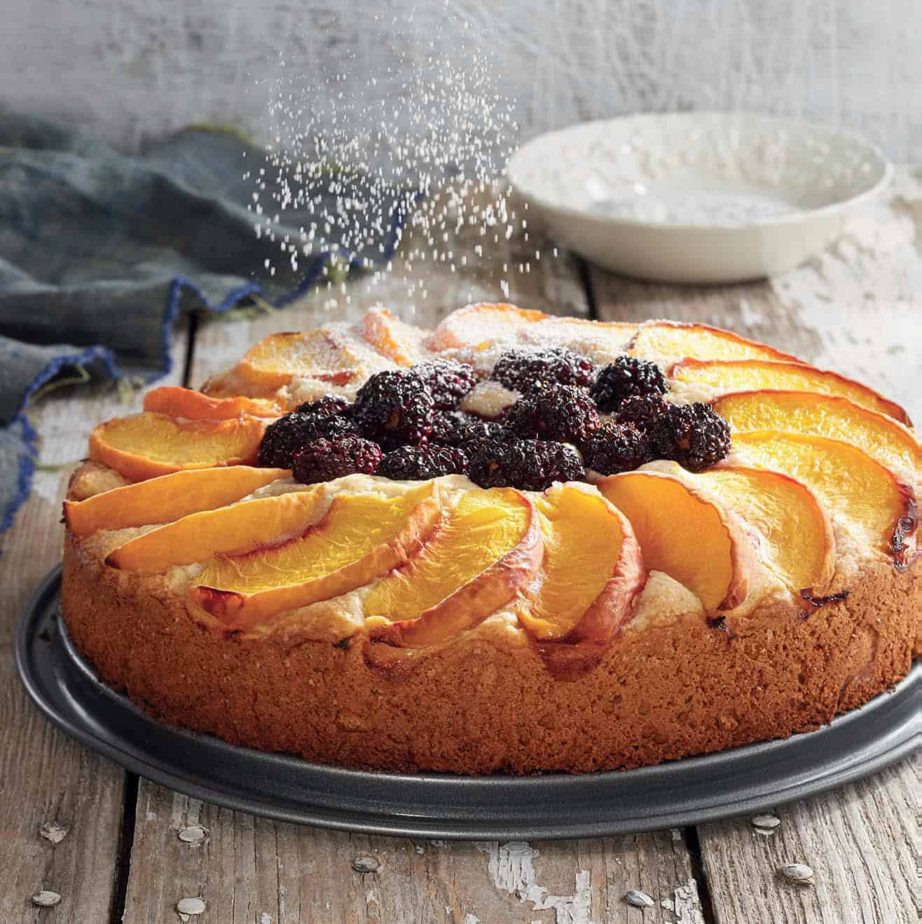 blackberry peach buckle cake
