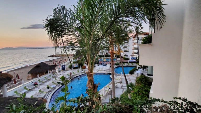 The view of the pool and Bay of Banderas at the Buenaventura Grand.