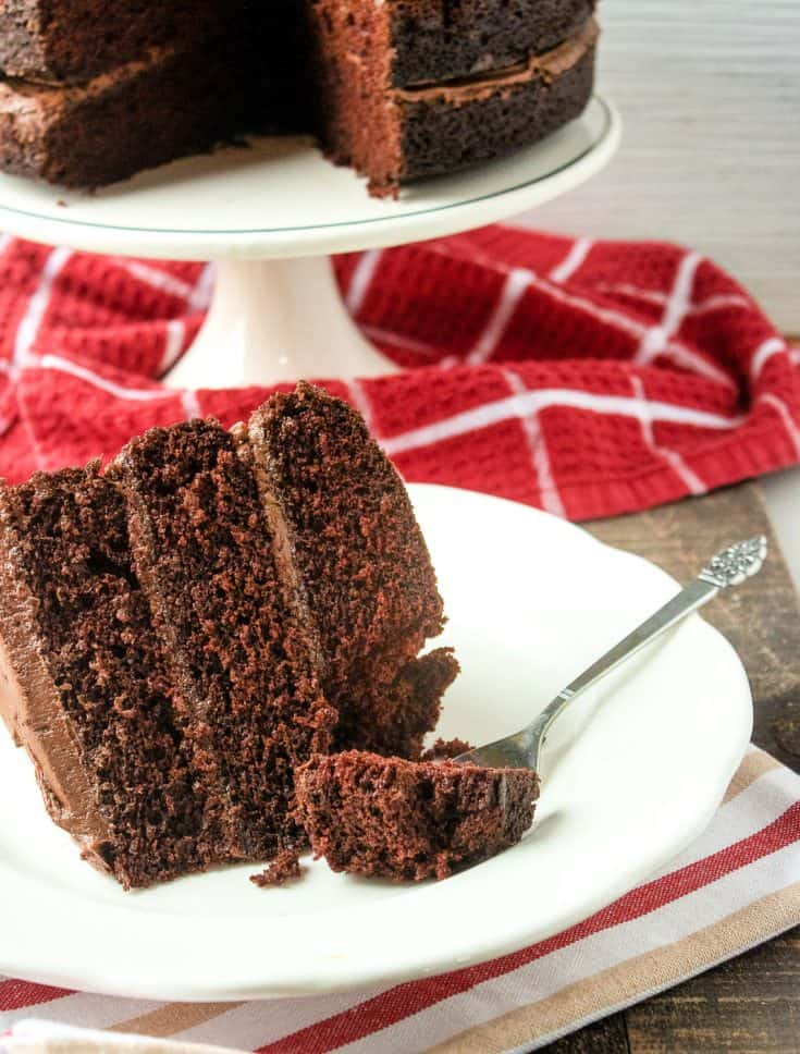 This Decadent Chocolate Layer Cake is dedicated to all the chocoholics who appreciate the sweeter things in life.  It's three layers of chocolate cake goodness topped with homemade chocolate buttercream icing. #chocolatecake #cakerecipes