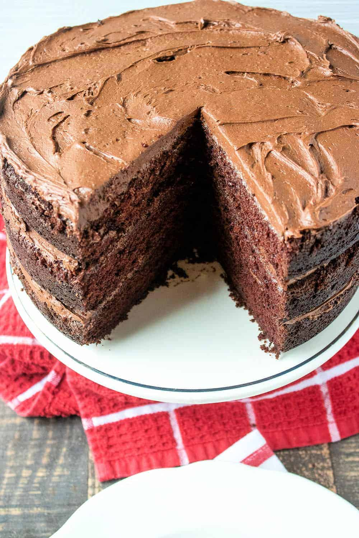 layered chocolate cake with chocolate icing