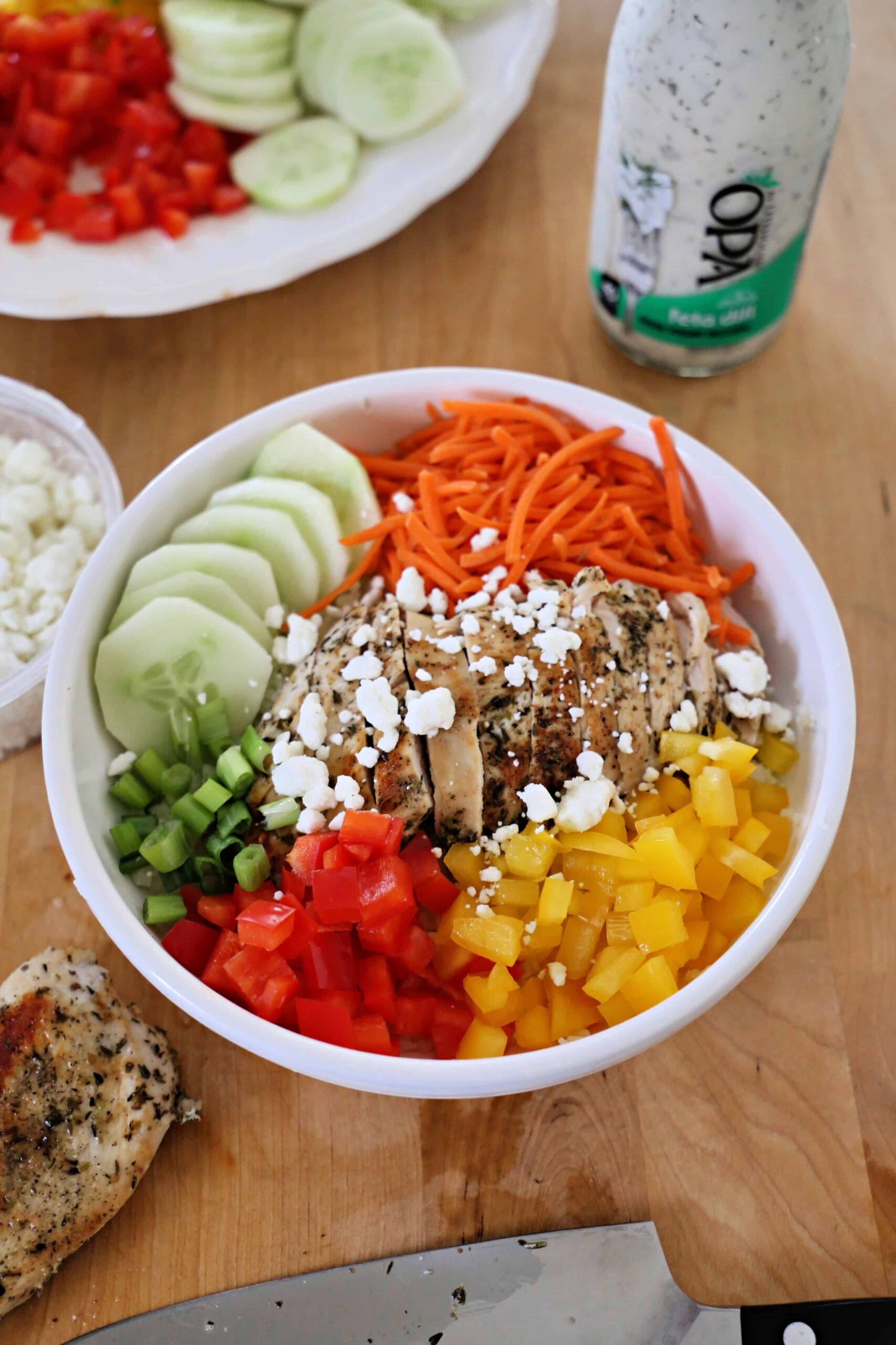 Green Chicken Rice Bowl with feta cheese