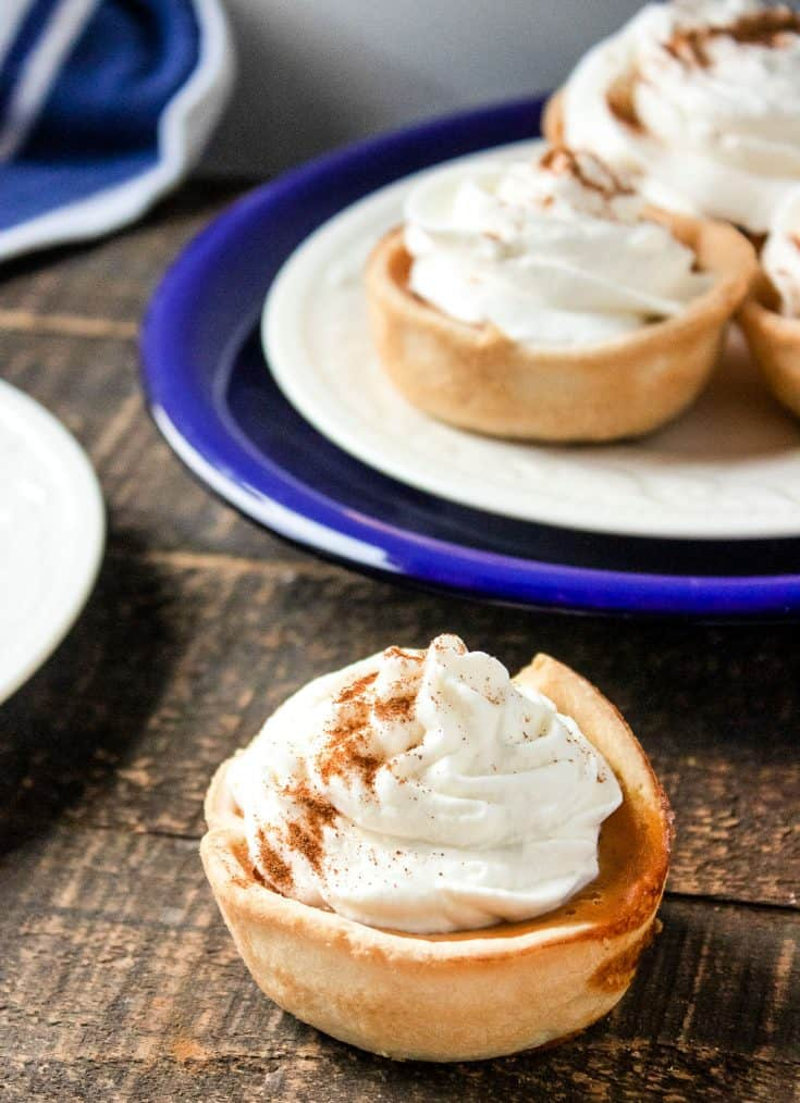 "These Mini Personal Pumpkin Pies are not only cute but also a good way to make sure that everyone gets a ""piece of the pie."""