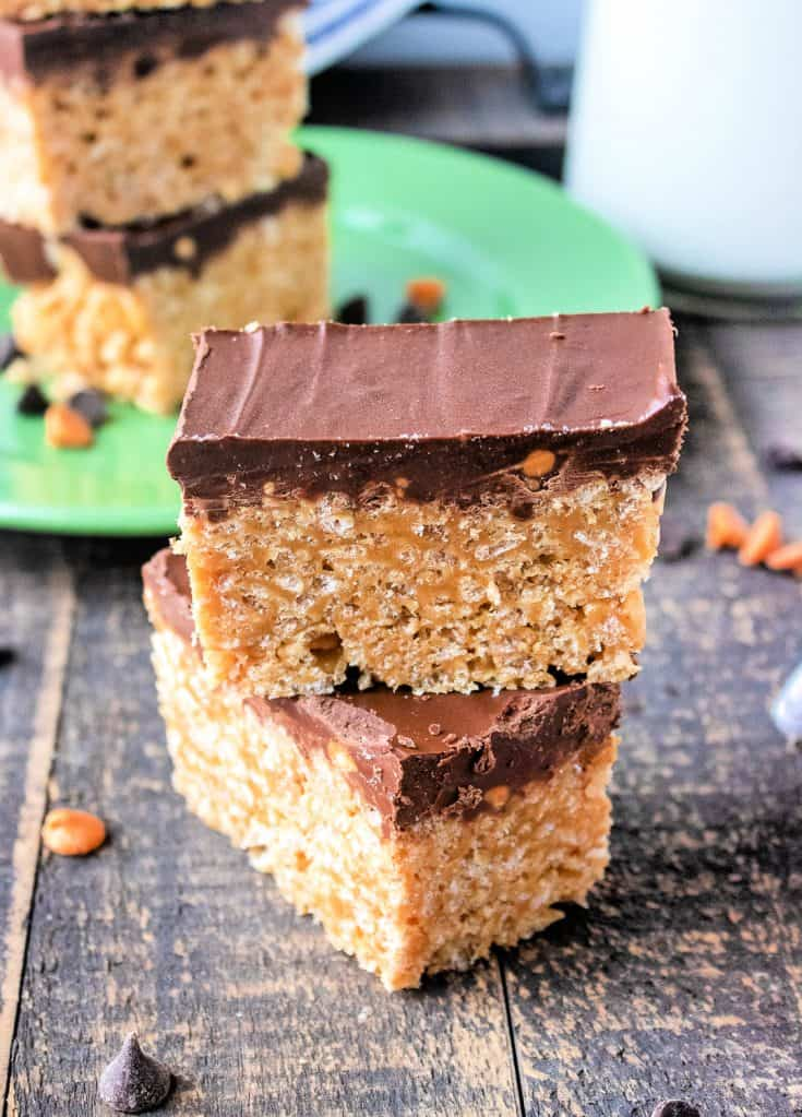 These Lunchroom-Style Schotcheroos will delight the inner child in you. Made with crisp rice cereal and peanut butter and topped with sweet chocolate - what's not to love?!
