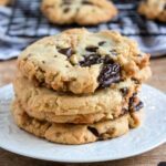 plate with chocolate chip cookies