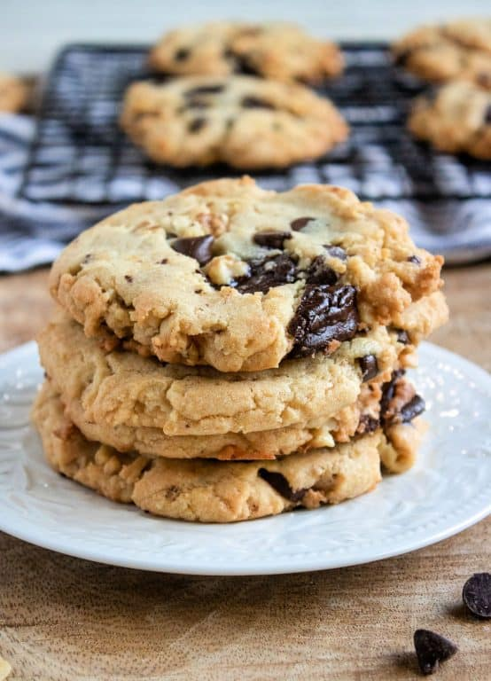 plate with walnut chocolate chunk cookies