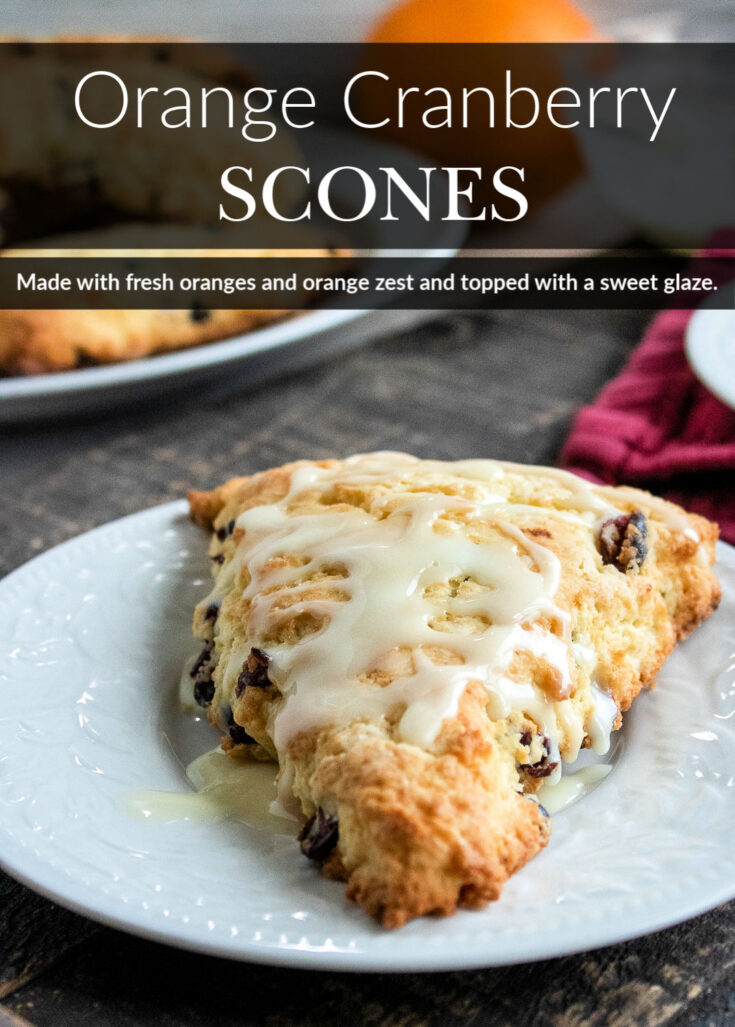 These homemade Orange Cranberry Scones are a decadent treat that are made with fresh oranges and orange zest and topped with a sweet glaze.