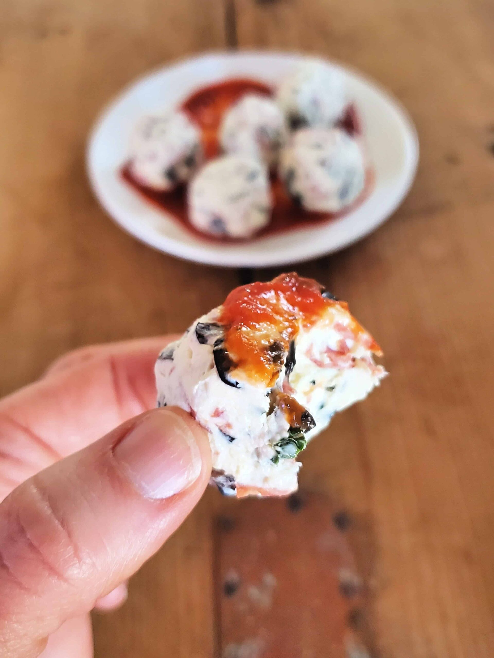 pizza fat bite with marinara sauce