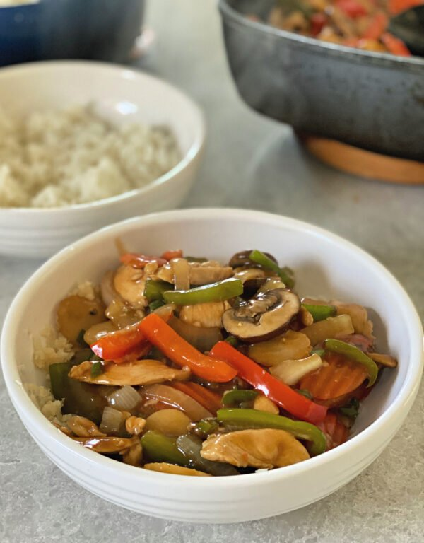 Thai chicken and vegetables in a bowl