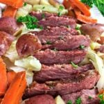corned beef and cabbage on a platter