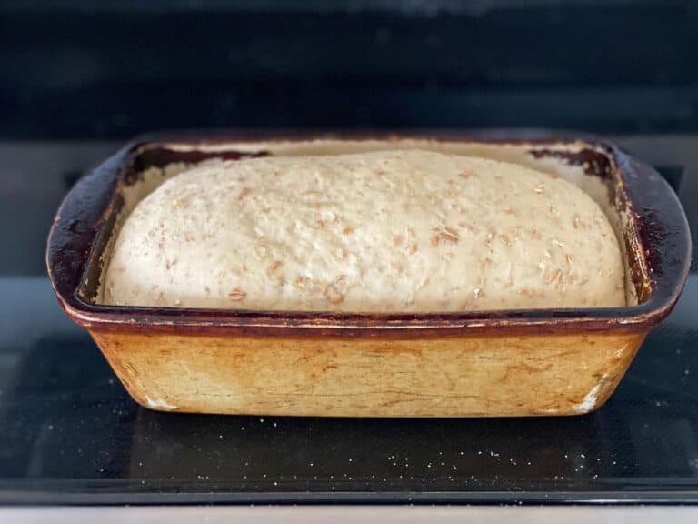 proofed bread in loaf pan