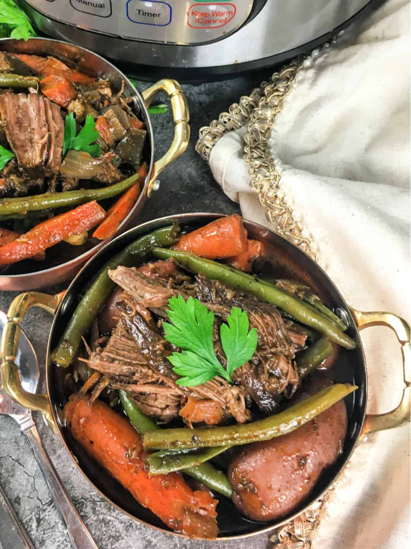 Pot Roast dinner in a small pot